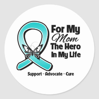 Teal Ribbon For My Hero My Mom Round Stickers