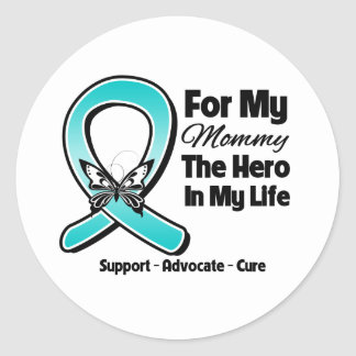 Teal Ribbon For My Hero My Mommy Round Stickers