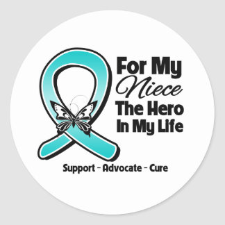 Teal Ribbon For My Hero My Niece Sticker