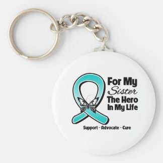 Teal Ribbon For My Hero My Sister Key Chains