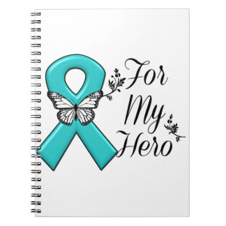 Teal Ribbon For My Hero Spiral Note Books