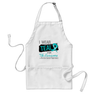 Teal Ribbon For The Survivors - Ovarian Cancer Adult Apron