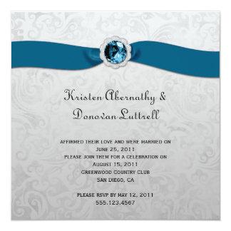 Teal Ribbon Gem Silver Post Wedding Invitation