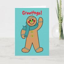 Teal Ribbon Gingerbread Card