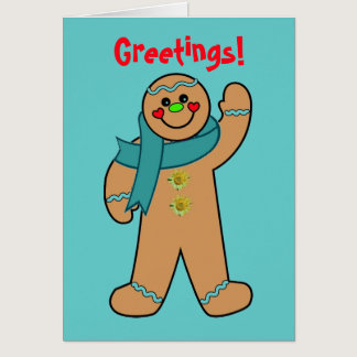 Teal Ribbon Gingerbread Card