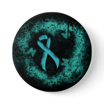Teal  Ribbon Grunge Heart Button