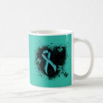 Teal  Ribbon Grunge Heart Coffee Mug