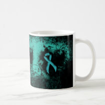 Teal  Ribbon Grunge Heart Coffee Mug