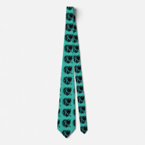 Teal  Ribbon Grunge Heart Tie