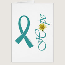 Teal Ribbon Hope Ovarian Cancer Card