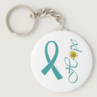 Teal Ribbon Hope Ovarian Cancer Keychain