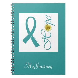 Teal Ribbon Hope Ovarian Cancer Notebook