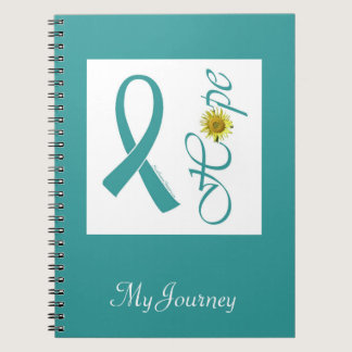 Teal Ribbon Hope Ovarian Cancer Notebook