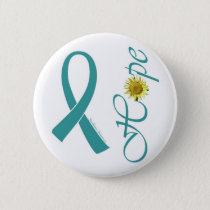 Teal Ribbon Hope Ovarian Cancer Pinback Button