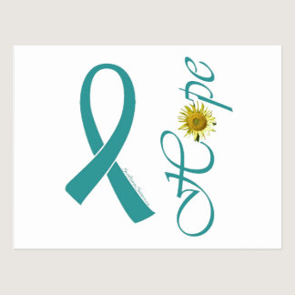 Teal Ribbon Hope Ovarian Cancer Postcard