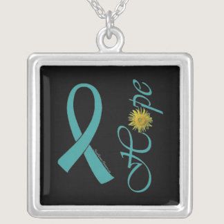 Teal Ribbon Hope Ovarian Cancer Silver Plated Necklace