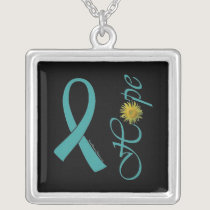 Teal Ribbon Hope Ovarian Cancer Square Pendant Necklace