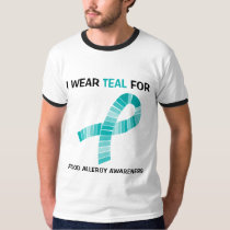 Teal Ribbon I wear Teal For Food Allergy Awareness T-Shirt