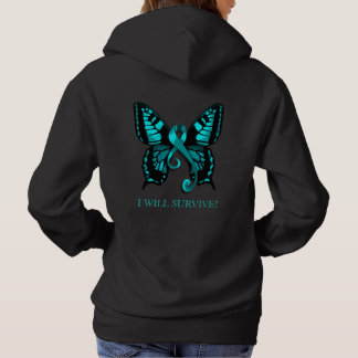 Teal Ribbon I will survive! Butterfly Hoodie