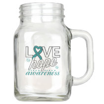 Teal Ribbon Love Hope Awareness Mason Jar