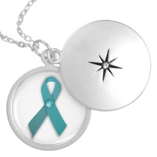 Teal ribbon necklace