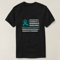 Teal Ribbon Ovarian Cancer Awareness US Flag T-Shirt