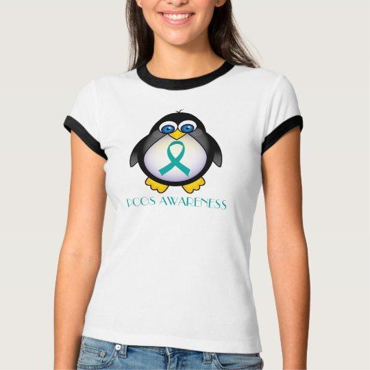Teal Ribbon PCOS Penguin Womens Ringer Tee