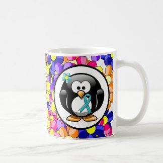 Teal Ribbon Penguin Coffee Mug