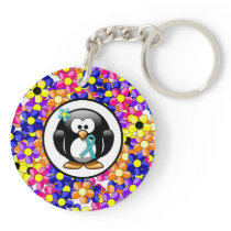 Teal Ribbon Penguin Keychain