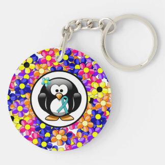 Teal Ribbon Penguin Keychain