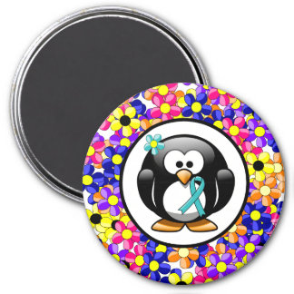 Teal Ribbon Penguin 3 Inch Round Magnet