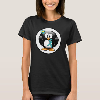 Teal Ribbon Penguin T-Shirt