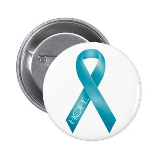 Teal Ribbon Pinback Buttons