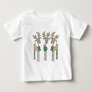 Teal Ribbon Reindeer Baby T-Shirt