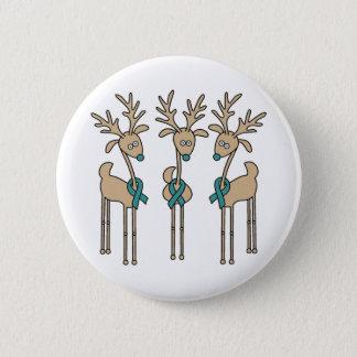 Teal Ribbon Reindeer Button