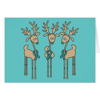 Teal Ribbon Reindeer Greeting Cards