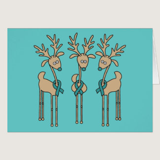 Teal Ribbon Reindeer Card