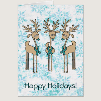 Teal Ribbon Reindeer - Cervical Cancer Card