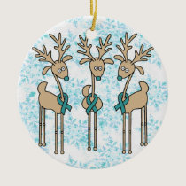Teal Ribbon Reindeer - Cervical Cancer Ceramic Ornament