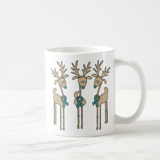 Teal Ribbon Reindeer - Cervical Cancer Coffee Mug