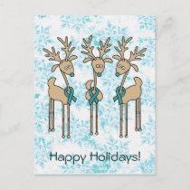 Teal Ribbon Reindeer - Cervical Cancer Holiday Postcard
