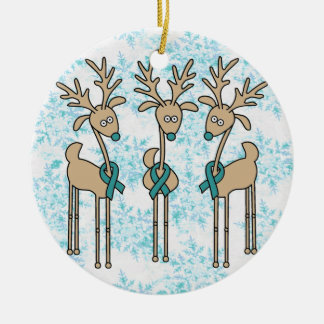 Teal Ribbon Reindeer - Cervical Cancer Double-Sided Ceramic Round Christmas Ornament