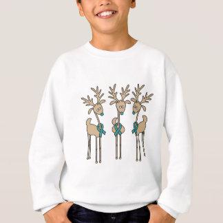 Teal Ribbon Reindeer - Cervical Cancer Sweatshirt