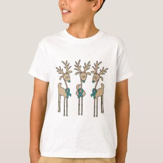 Teal Ribbon Reindeer - Cervical Cancer T-Shirt