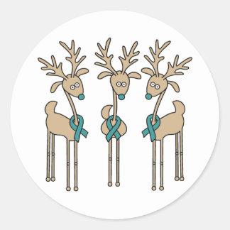 Teal Ribbon Reindeer Classic Round Sticker