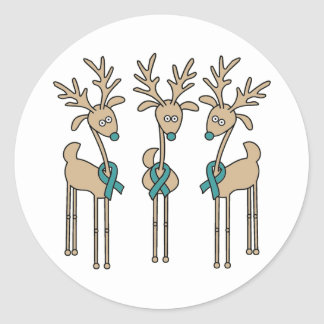 Teal Ribbon Reindeer Classic Round Sticker