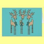 Teal Ribbon Reindeer Greeting Card