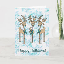 Teal Ribbon Reindeer Holiday Card