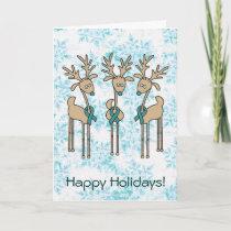 Teal Ribbon Reindeer Holiday Card