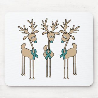Teal Ribbon Reindeer Mouse Pad